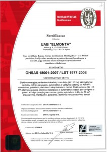 ISO 18001 sertifikatas